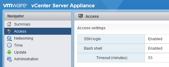 VCSA SSH Enable